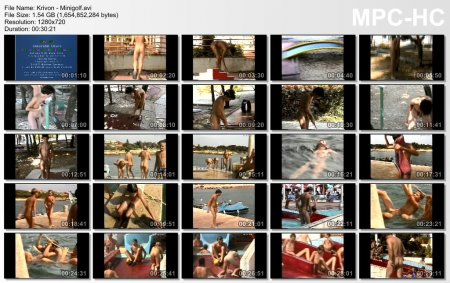 Minigolf (family nudism, young naturism, naked boys, naked girls, beach)