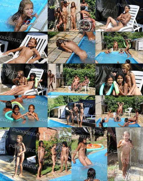 Tropical Poolside Day (family nudism, family naturism, young naturism, naked boys, naked girls)
