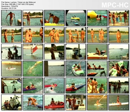 Lachen, Toben an der Mole (family nudism, young naturism, naked boys, naked girls)