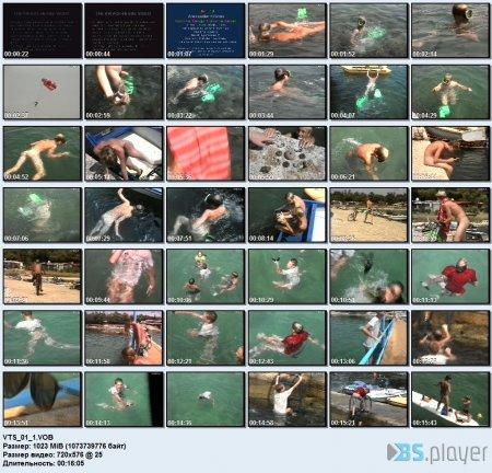 Muschel- und Seegurken-Taucher 1  (family nudism, young naturism, naked boys, naked girls, beach)