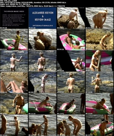 Muscheln und kleine Fische (family nudism, young naturism, naked boys, naked girls, beach)