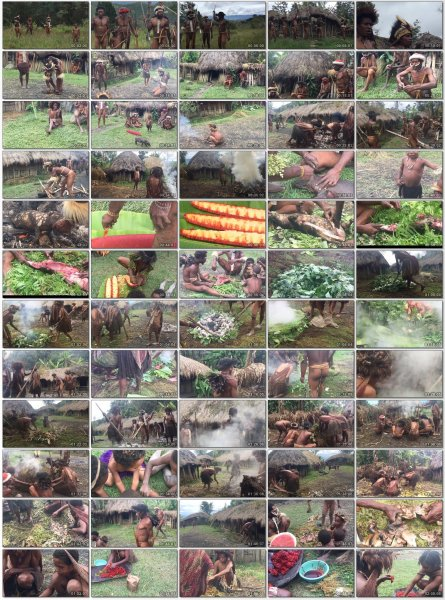 Naked tribes. Feast of the pig in the Dani tribe.