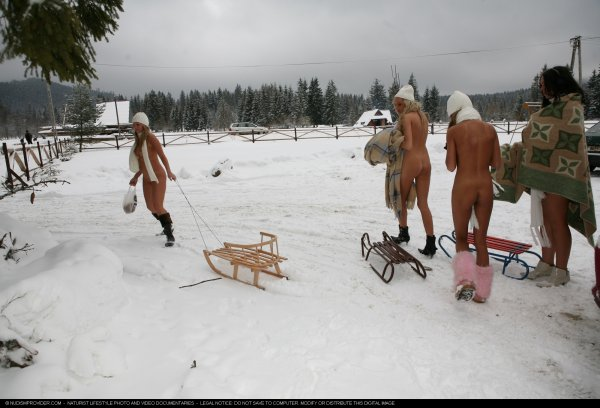 Snow Day Girls 2 (naked girls, winter naturism, nudism, naturism)